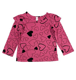 Pink Peony Hot Pink Confetti Love Ruffle Top