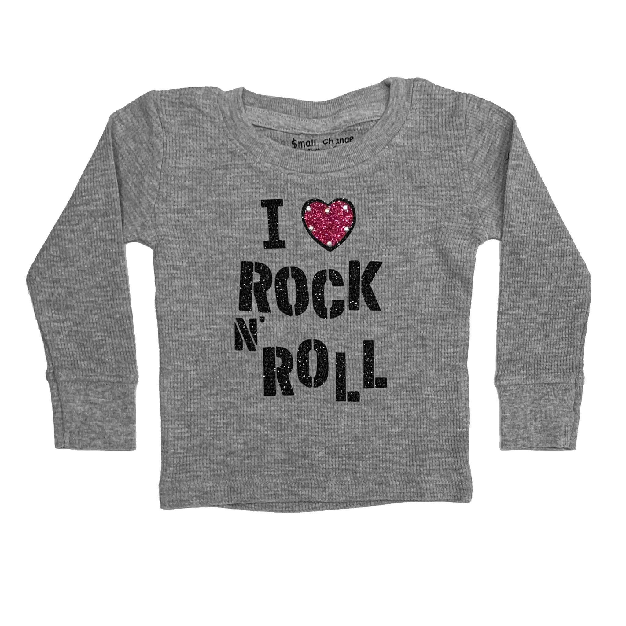 sale retailer 0c4b8 fe0d8 Small Change Grey I Love Rock & Roll Thermal