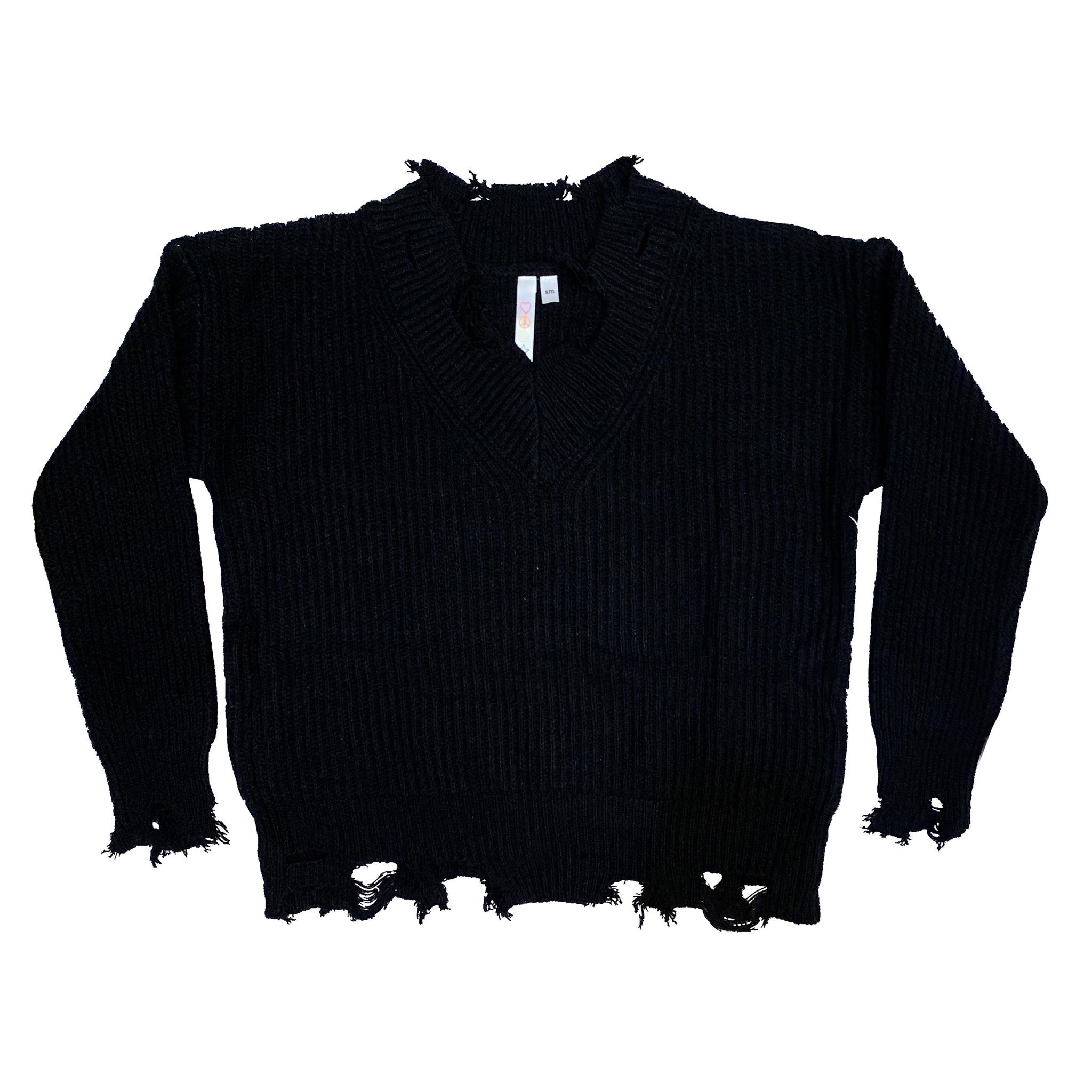 Malibu Sugar Distressed Black Sweater