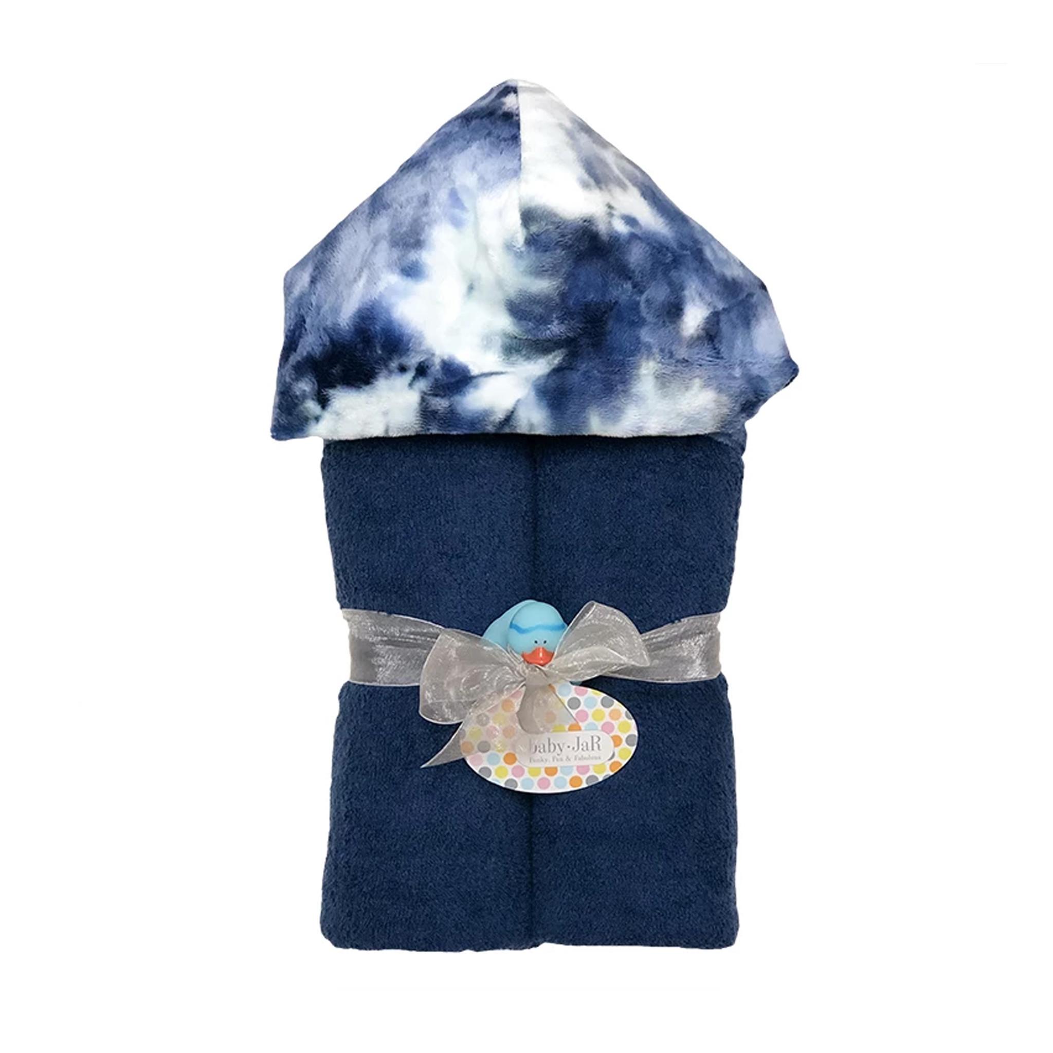 Baby Jar Navy Tie Dye Hooded Towel