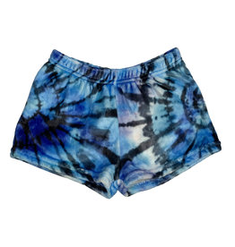 Penelope Wildberry Blue Tie Dye Plush Lounge Shorts