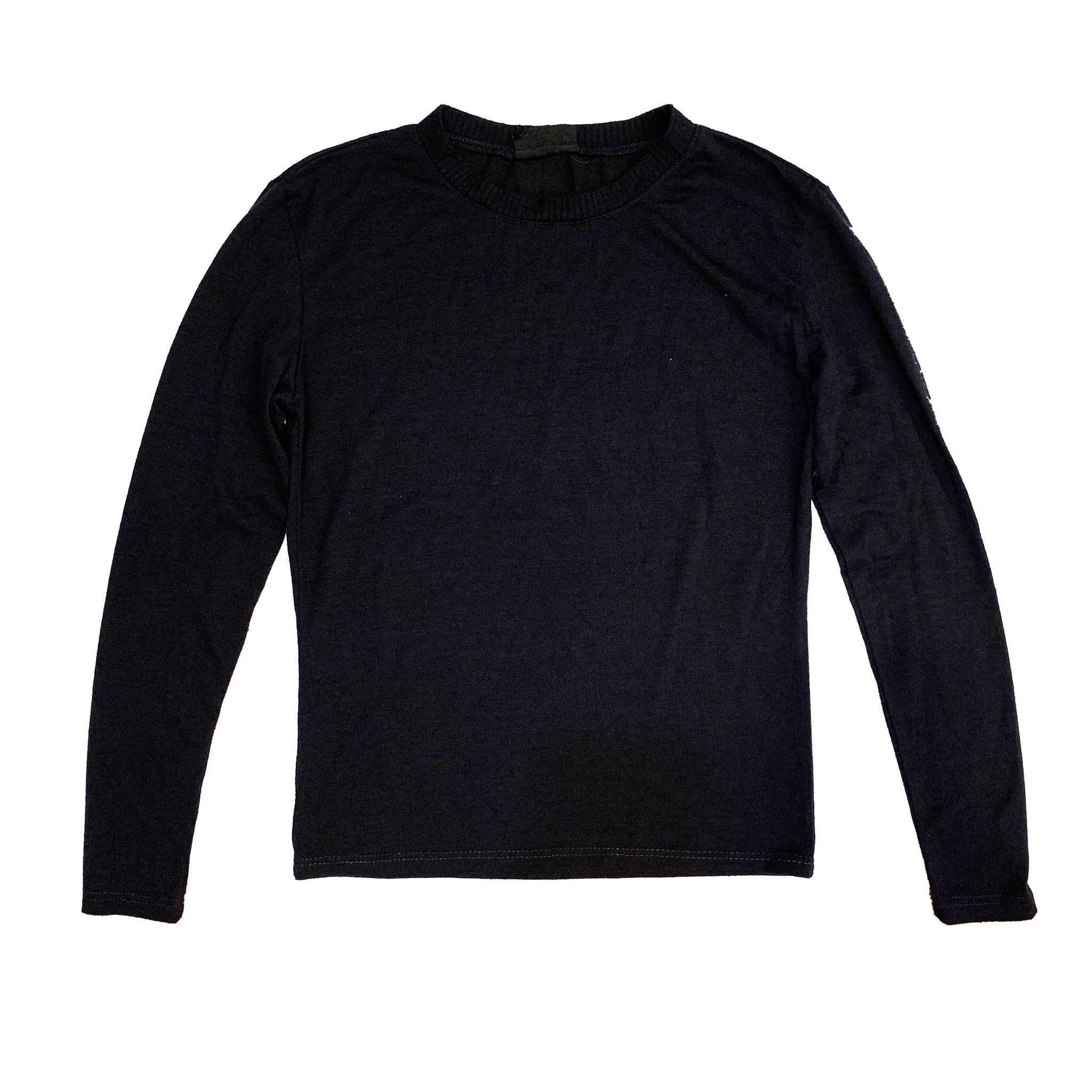Firehouse Black Ribbed Neck Top