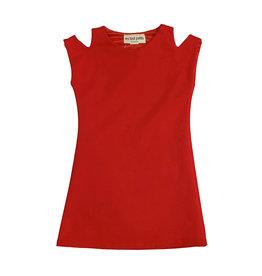 Les Tout Petits Red Cold Shoulder Dress