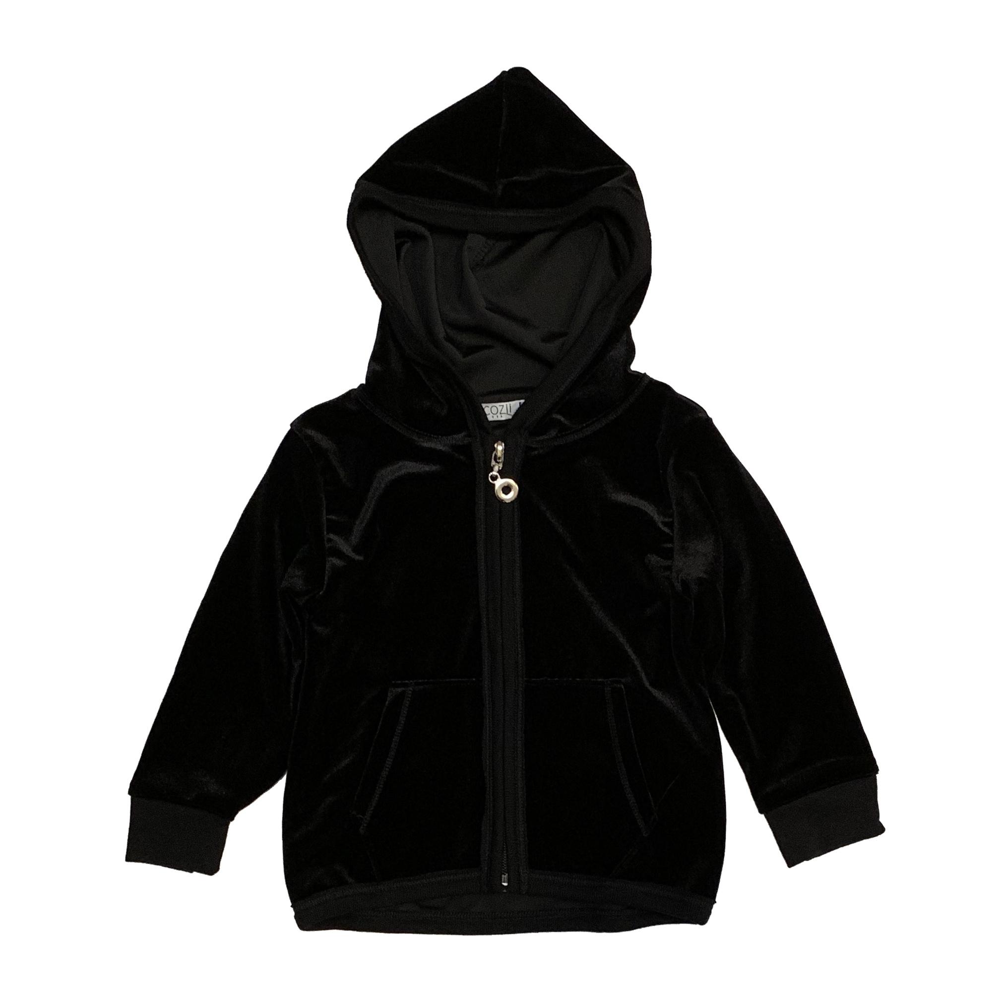 Cozii Ruffle-Back Velour Zip Jacket