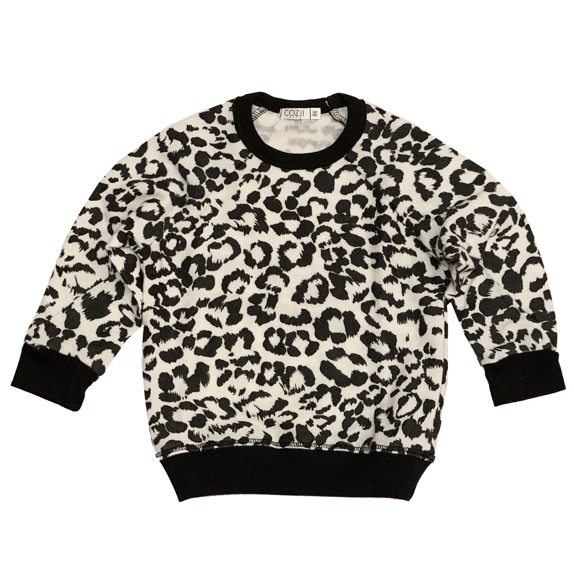 Cozii White Leopard Knit Pullover