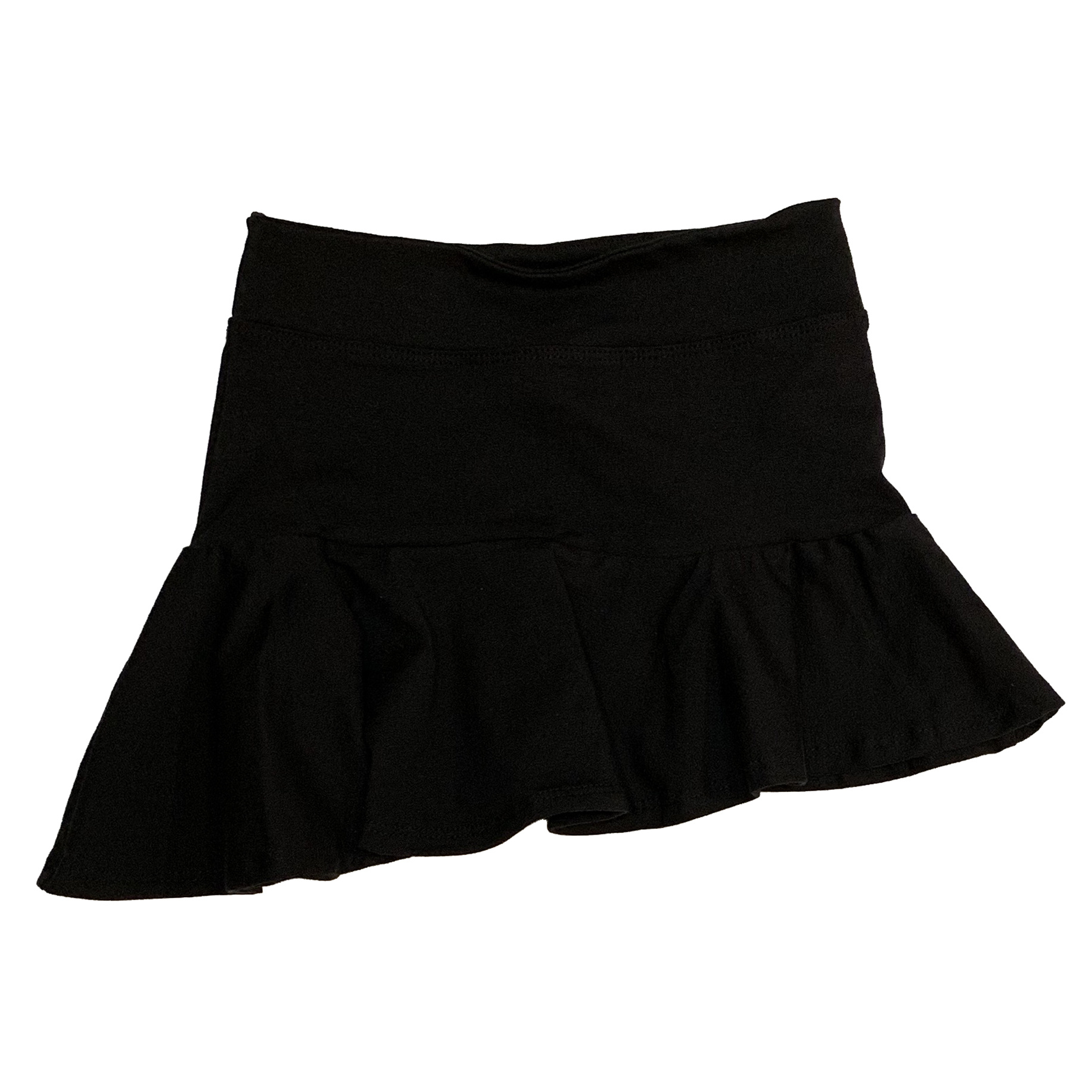 Les Tout Petits Black Asymmetrical Ruffle Skirt