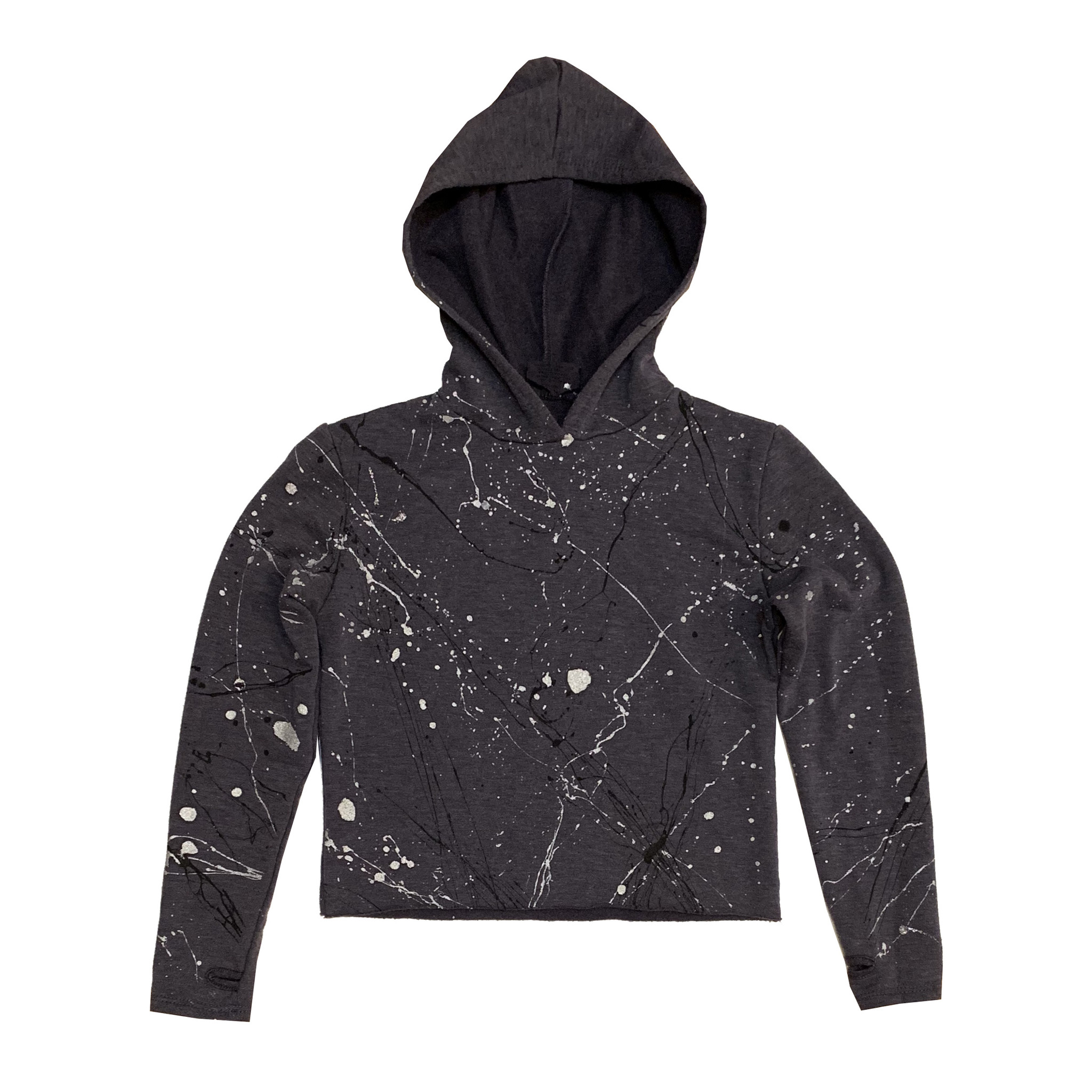 Firehouse Charcoal Metallic Splatter Cropped Pullover