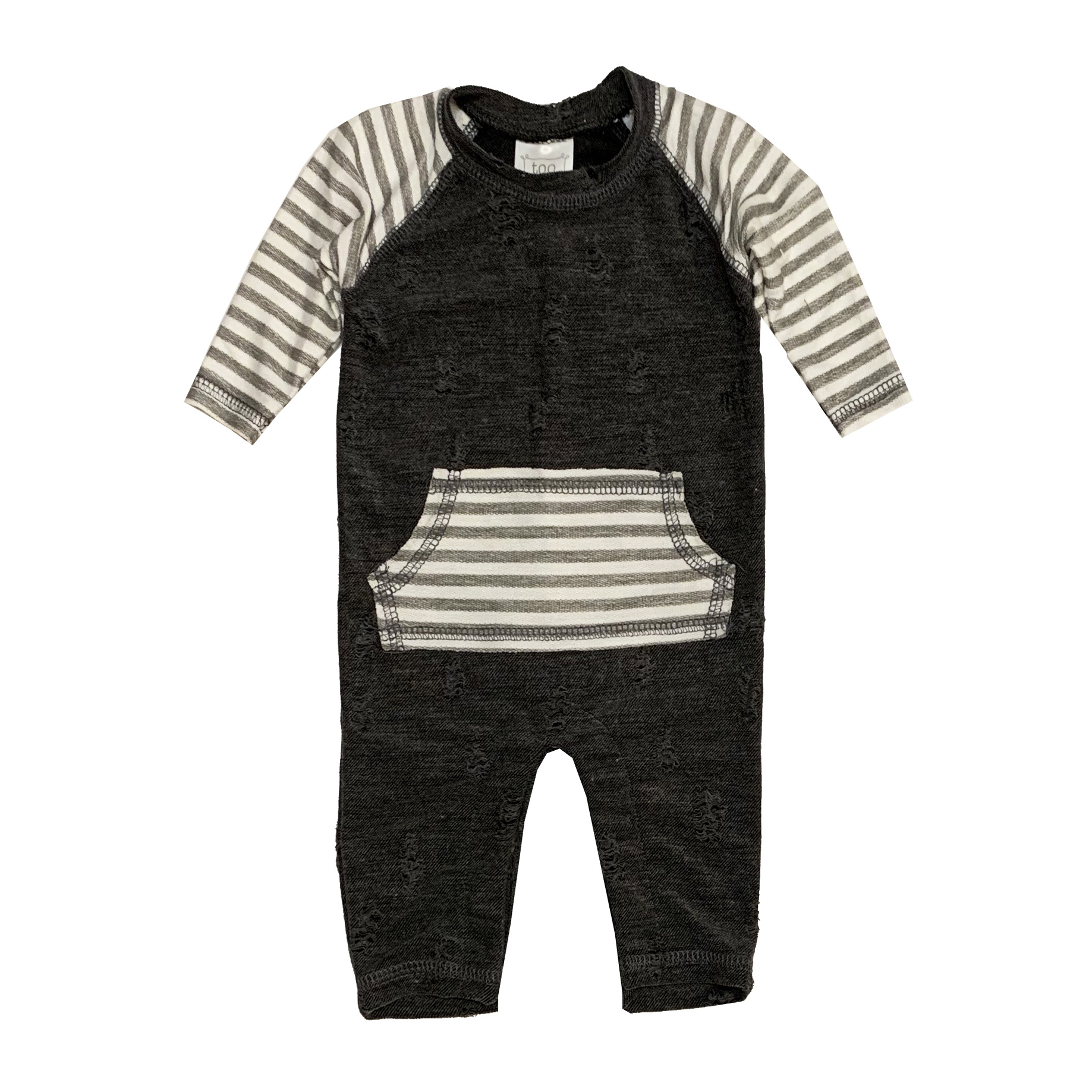 Too Cute Distressed Coverall with Stripe Pocket