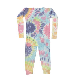 Baby Steps Colorful Tie Dye Thermal Pajama Set