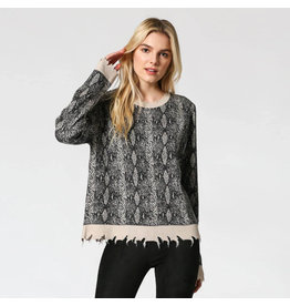 Fate Distressed Snake Print Sweater