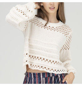 Fate Ivory Chenille Balloon Sleeve Sweater