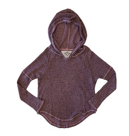 T2Love Waffle Knit Pullover Hoodie With Thumbhole