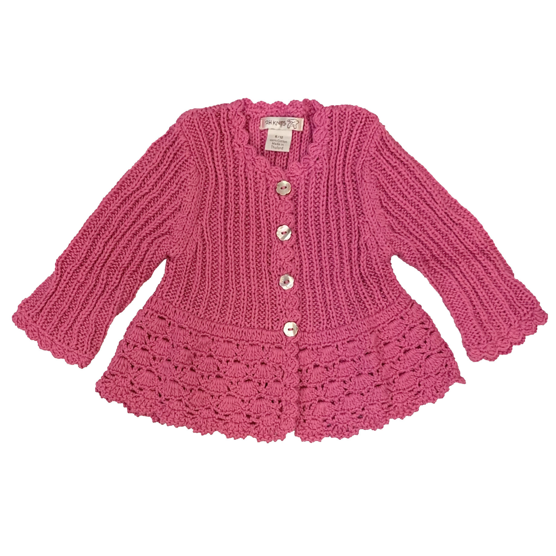 2 H Knits Hot Pink Peplum Sweater
