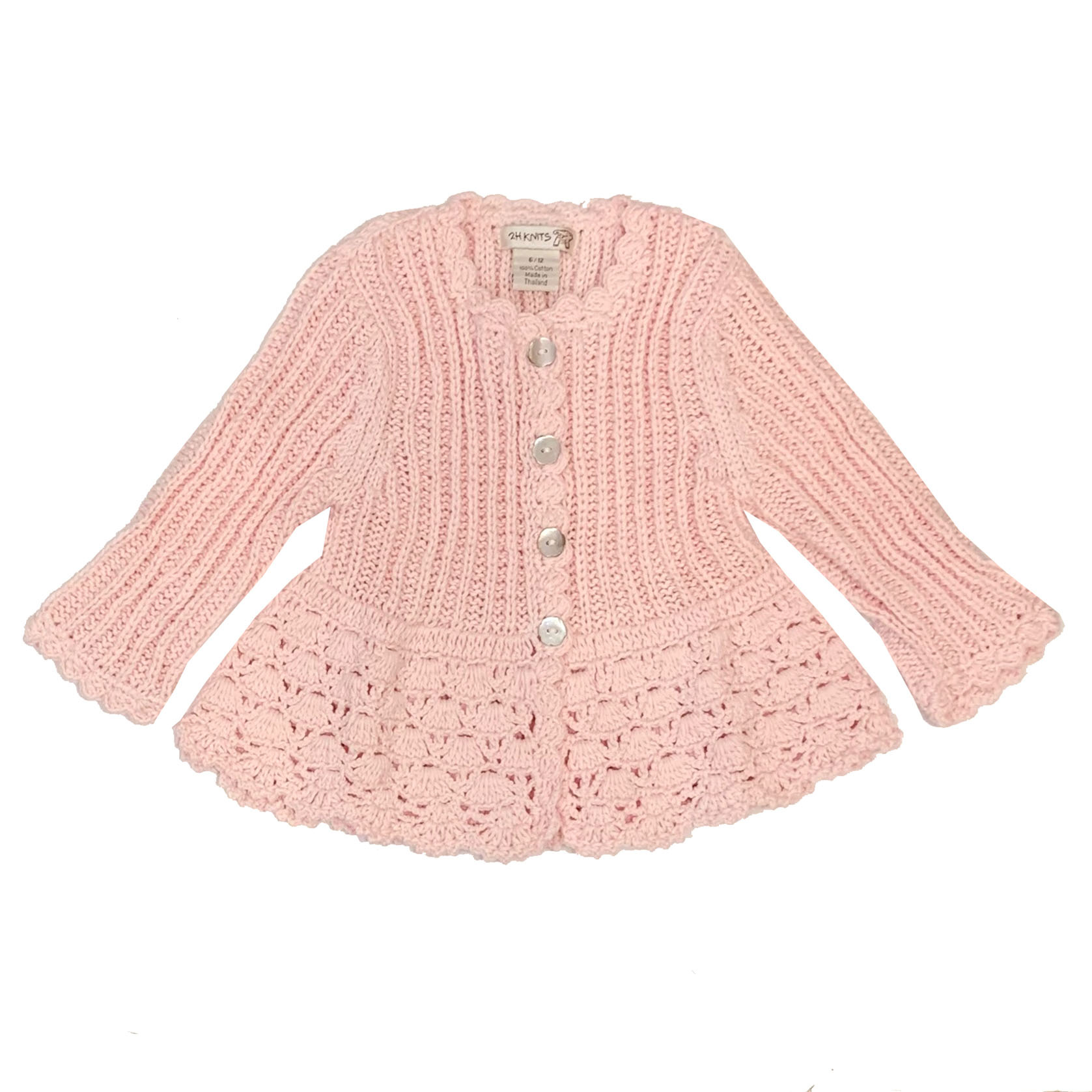2 H Knits Light Pink Peplum Sweater