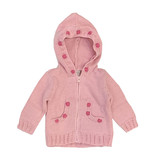 2 H Knits Pink Pom Pom Hooded Zip Sweater