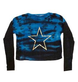 Vintage Havana Tie Dye Crop Sweatshirt with Gold Stars