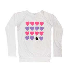 Firehouse White Top with Pink & Purple Hearts