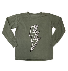 Olive Green Lightning Bolt Top