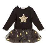 Petite Hailey Charcoal & Gold Star Tutu Dress