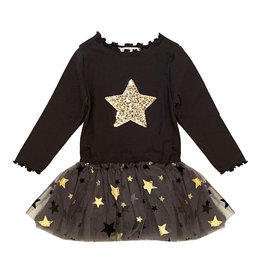 Petite Hailey Charcoal & Gold Star Tutu Dress