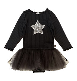 Petite Hailey Charcoal & Silver Star Tutu Dress