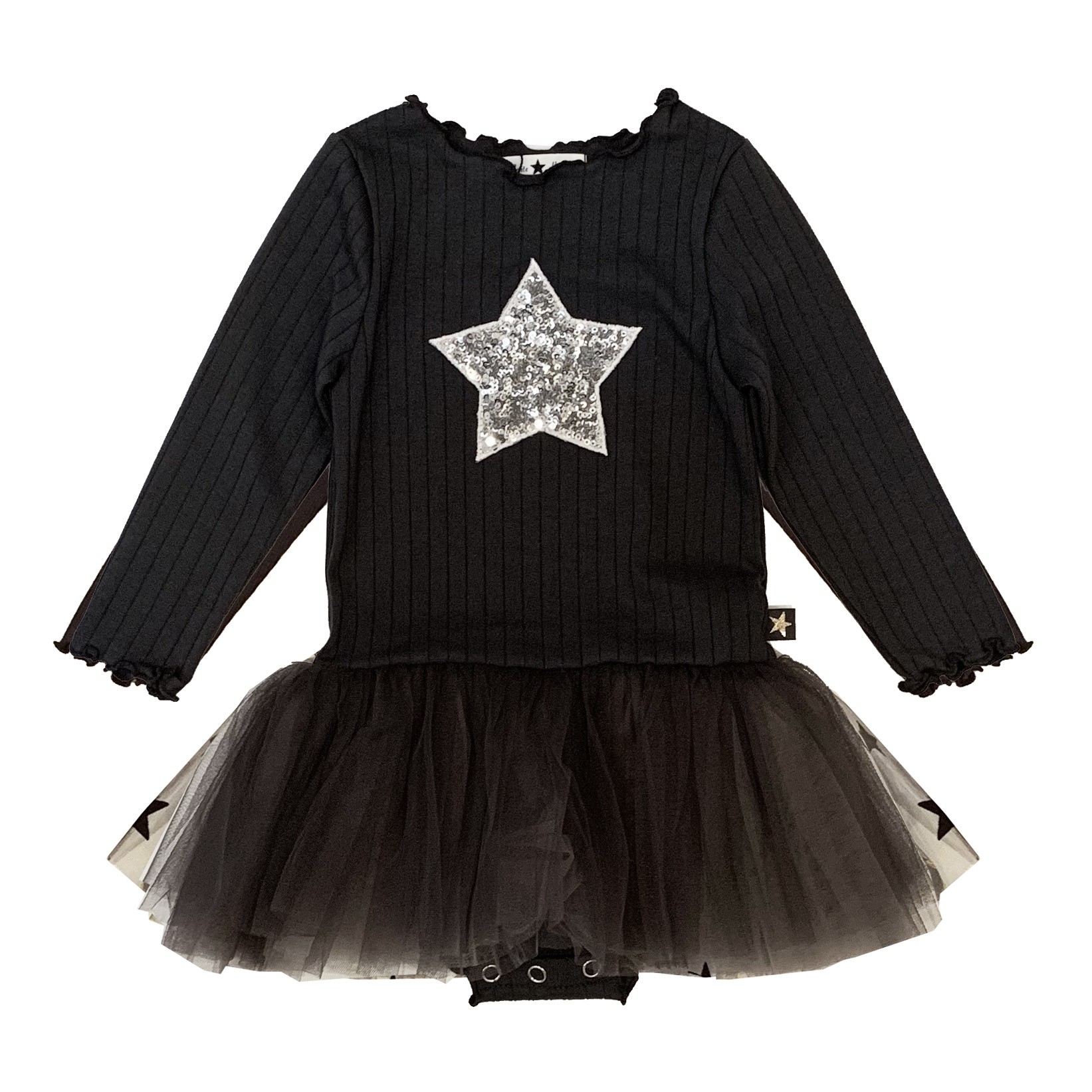 Petite Hailey Charcoal & Silver Star Tutu Dress