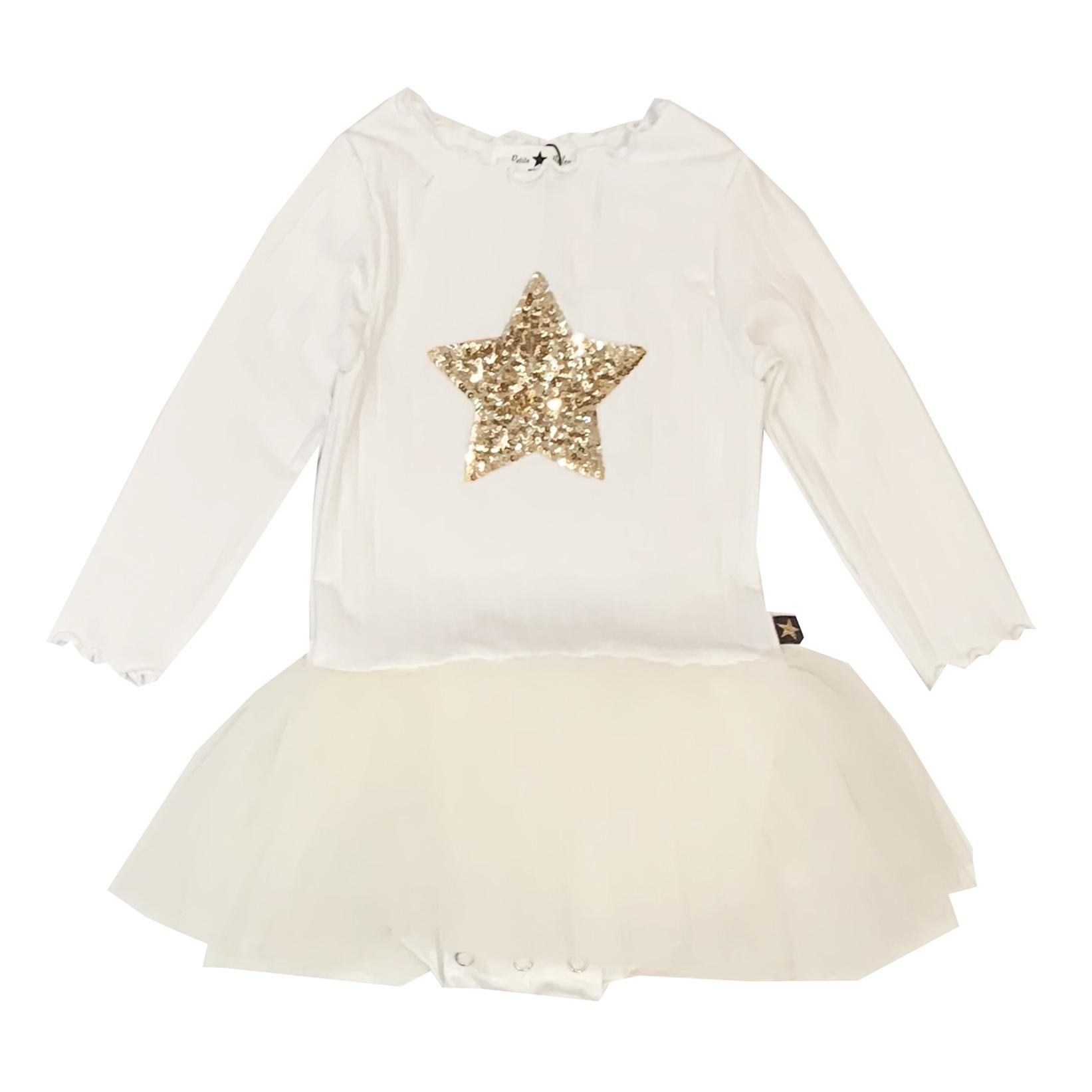 Petite Hailey Ivory & Gold Star Tutu Dress