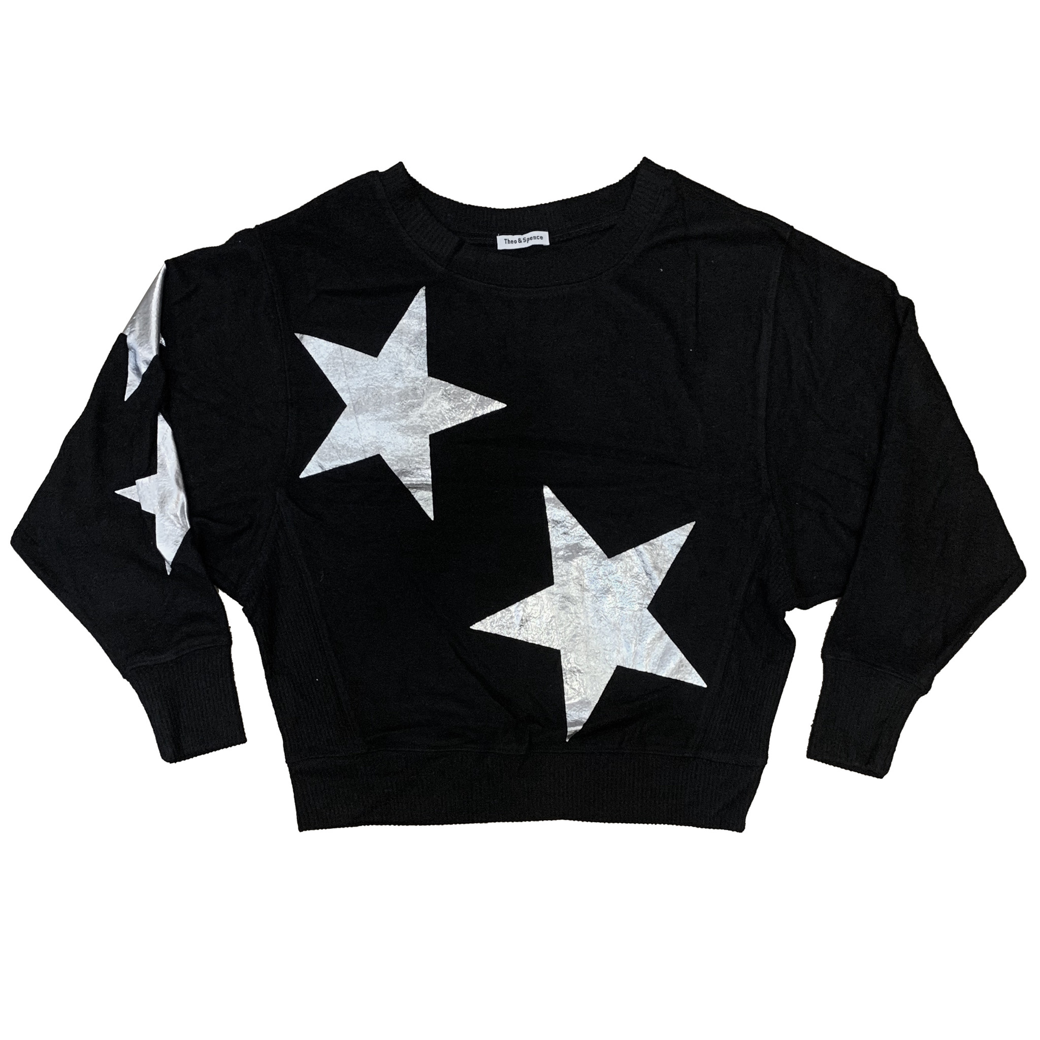 Theo & Spence Black Sweater with Silver Stars