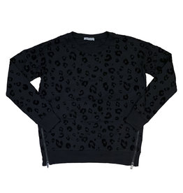 Theo & Spence Black Leopard Pullover with Side Zippers