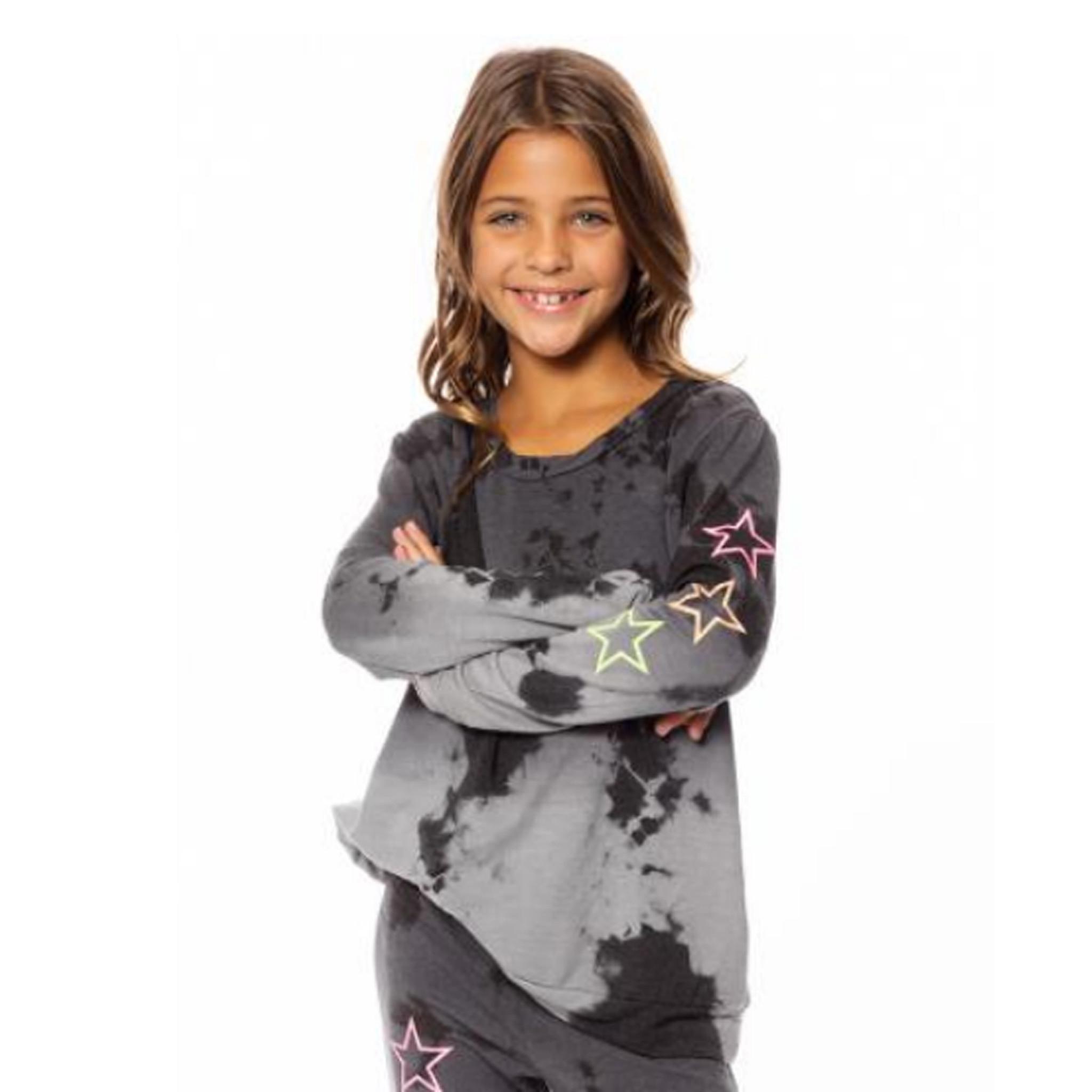 Malibu Sugar Ombre Tie Dye Sweatshirt with Neon Stars