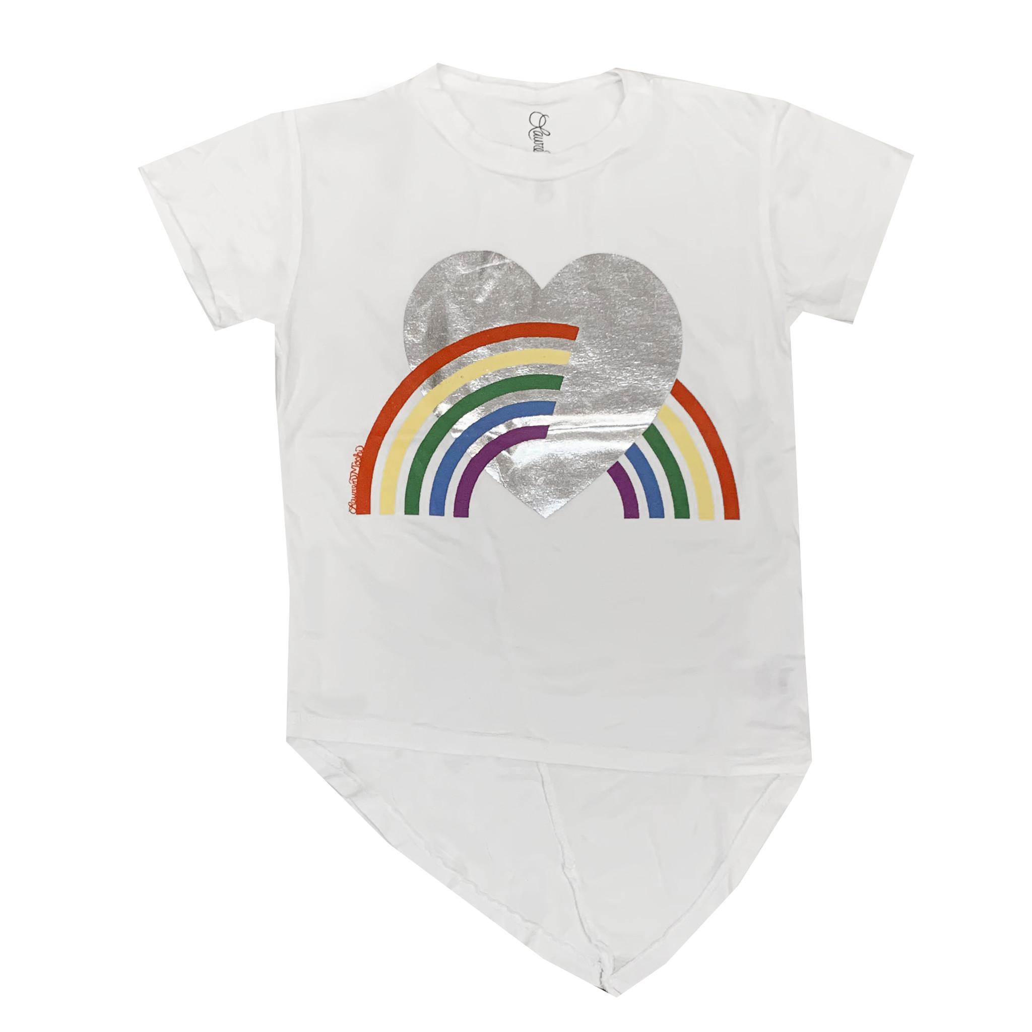 Lauren Moshi Rainbow Asymmetrical Hem Tee