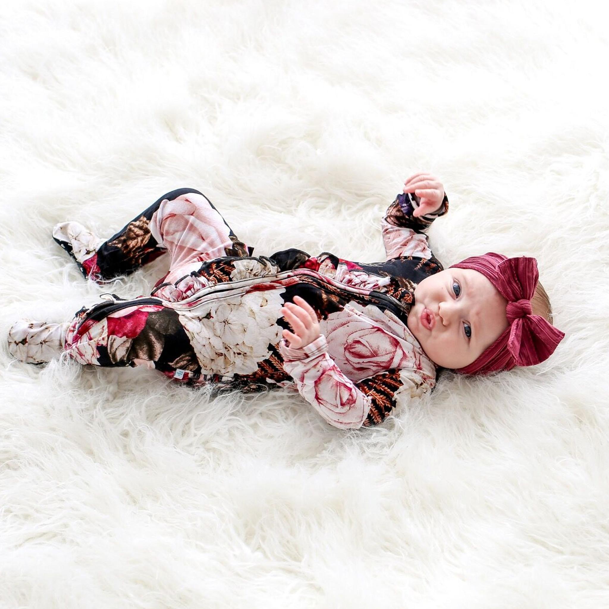 Posh Peanut Zoey Floral Ruffle Zippered Footie