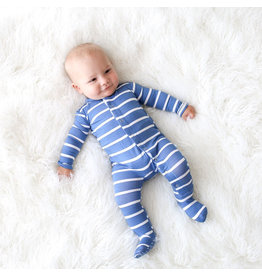 Posh Peanut Denim Stripe Snap Footie
