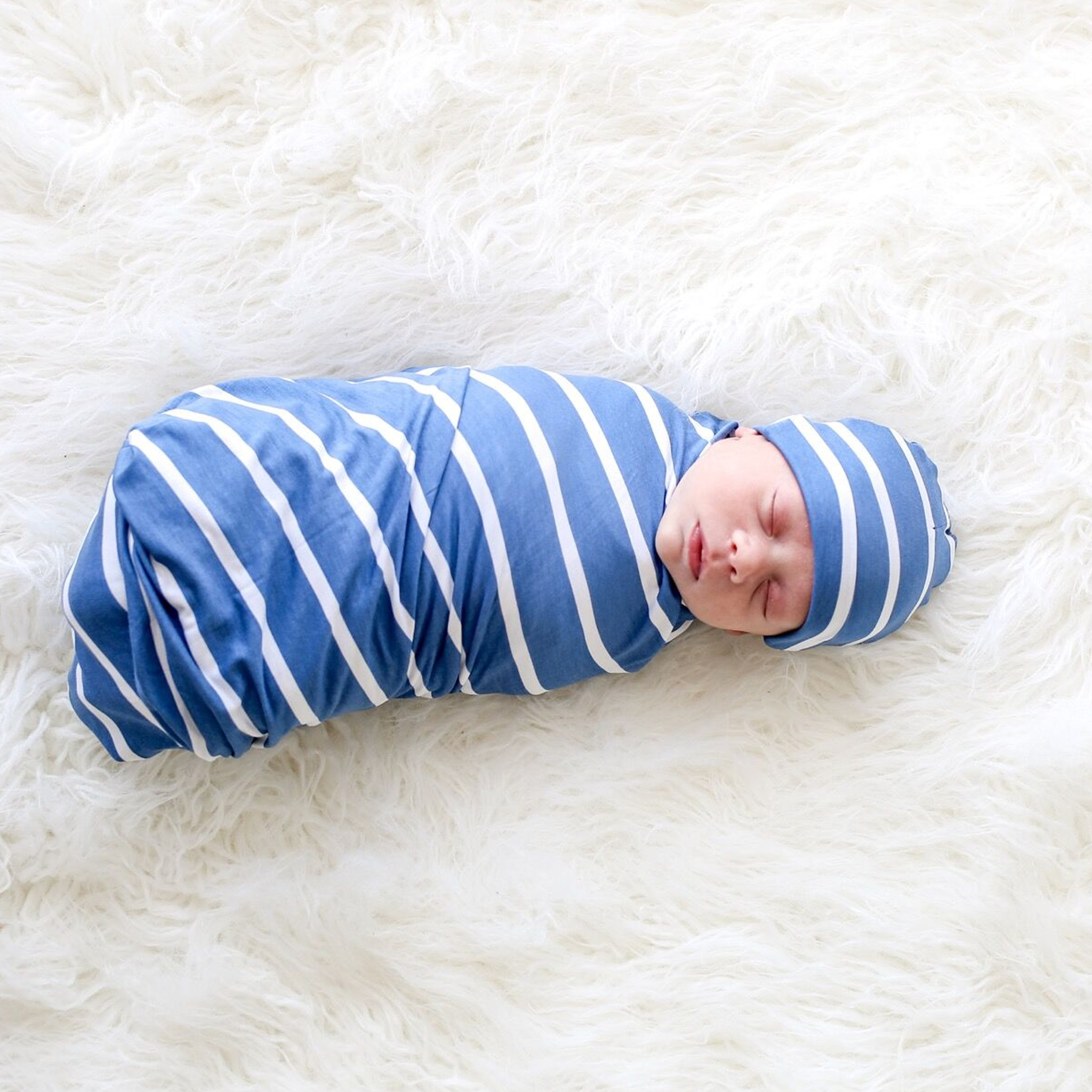 Posh Peanut Denim Swaddle & Hat Set