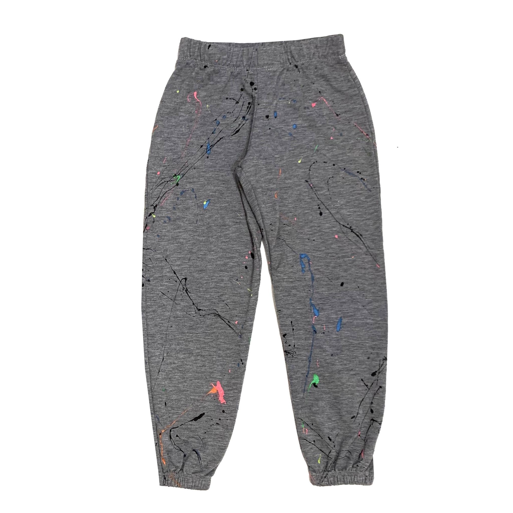 Grey Sweatpant with Rainbow Splatter Paint