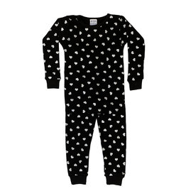 Baby Steps Black with Silver Hearts PJ Set