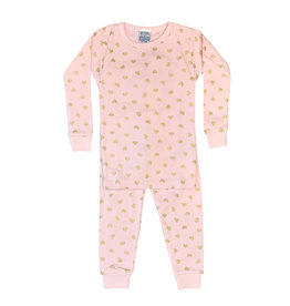 Baby Steps Pink with Gold Hearts PJ Set