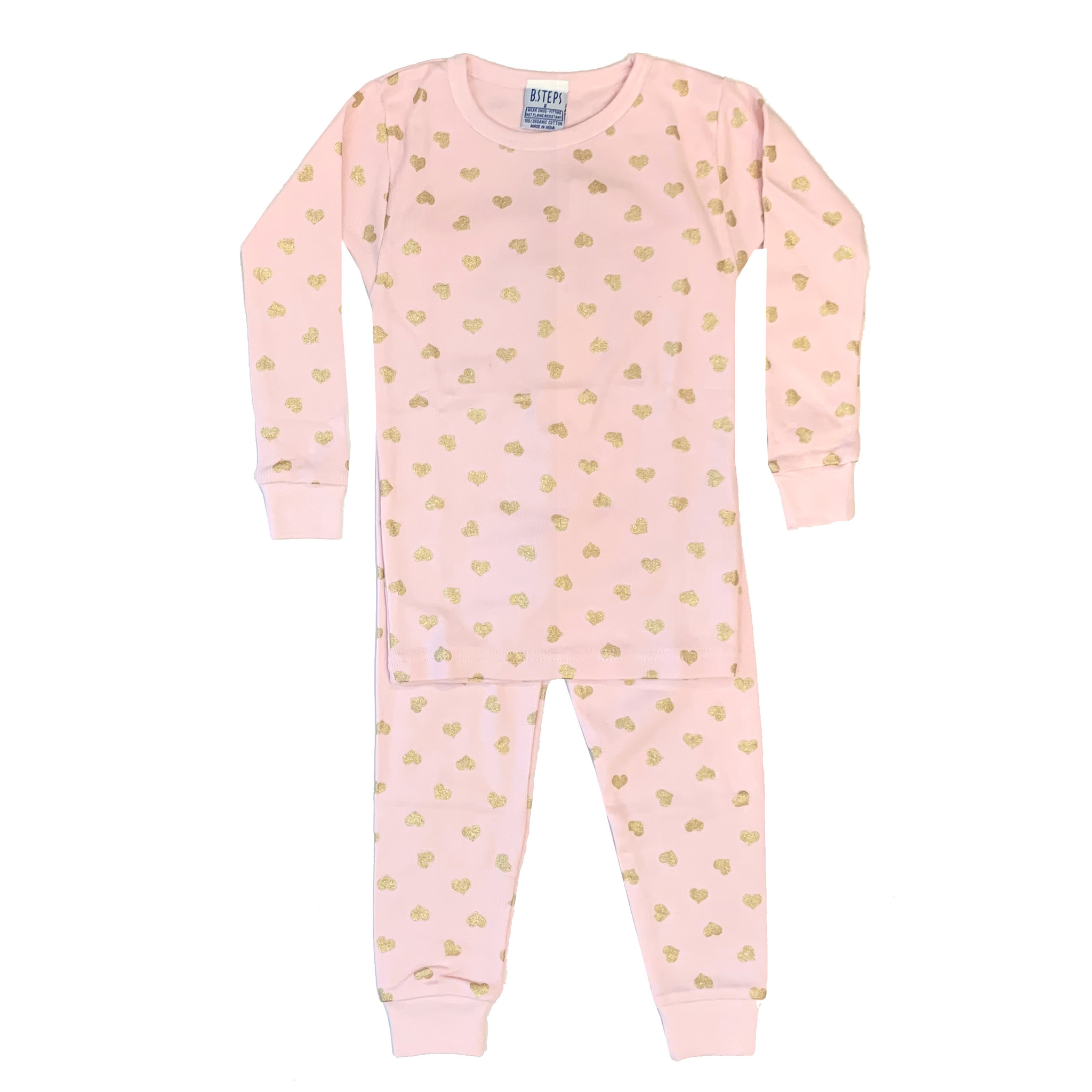 Baby Steps Pink with Gold Hearts Infant PJ Set