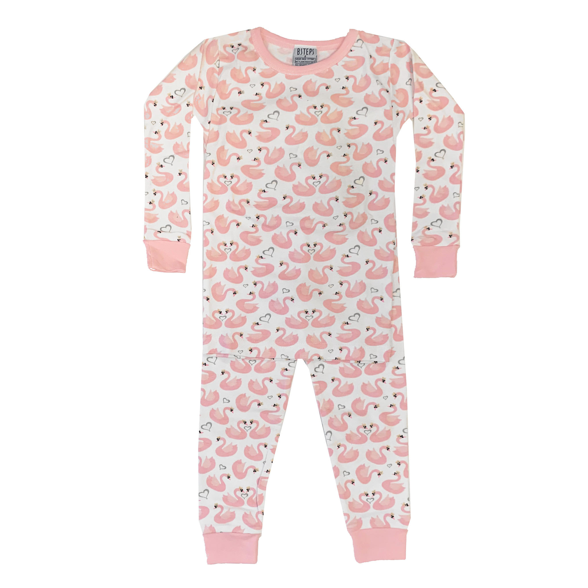 Baby Steps Pink Swans Infant PJ Set