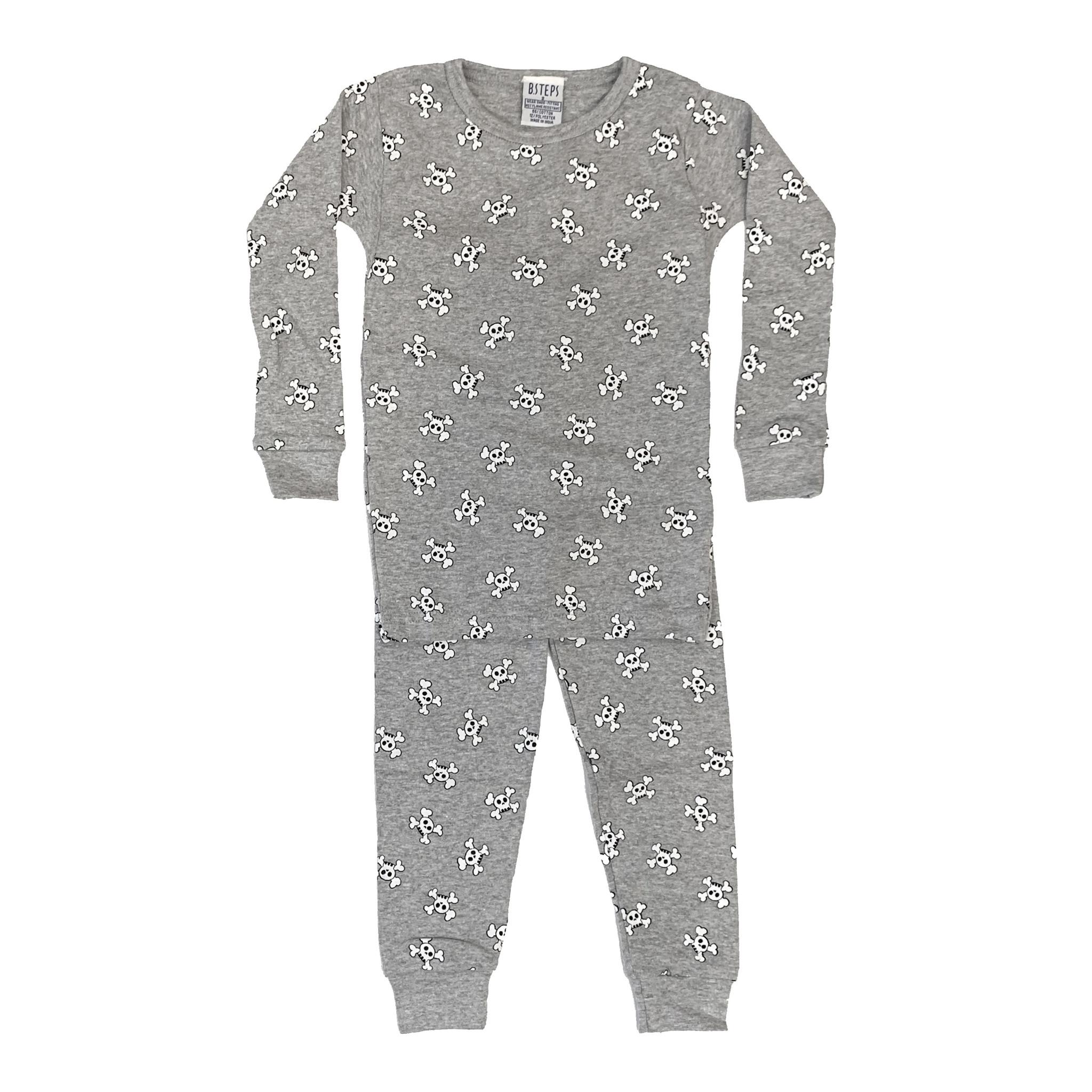Baby Steps Grey Skulls PJ Set