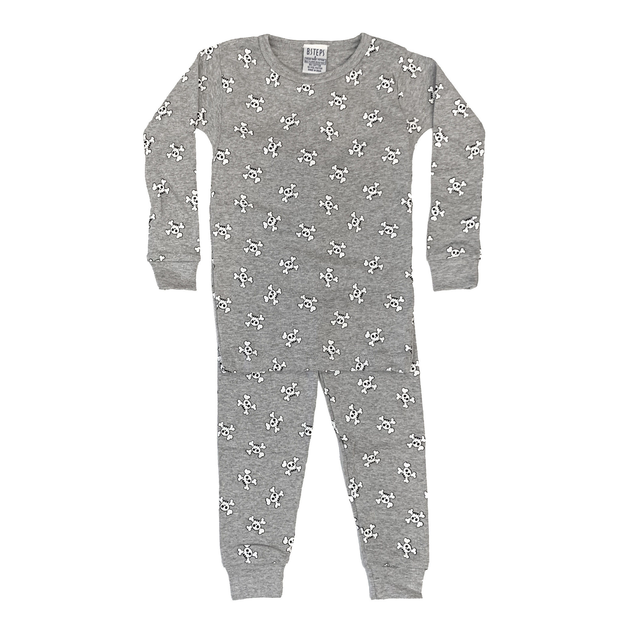 Baby Steps Grey Skulls Infant PJ Set