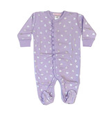Baby Steps Lilac Footie with Silver Hearts