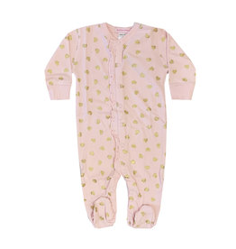 Baby Steps Pink Footie with Gold Hearts