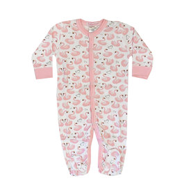 Baby Steps Pink Swans Footie