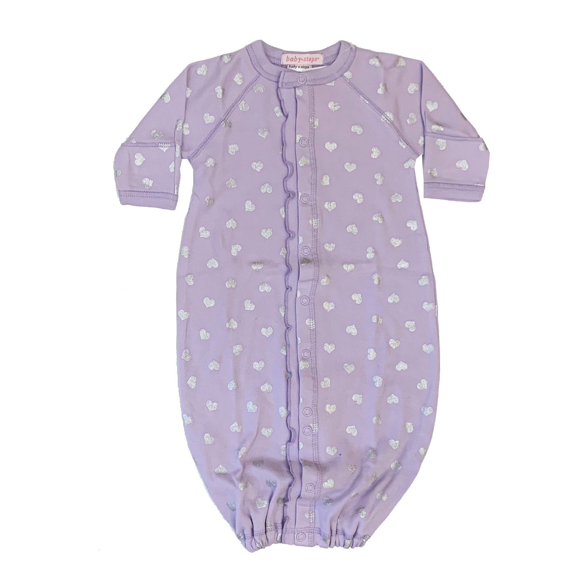 Baby Steps Lilac Gown with Silver Hearts NB
