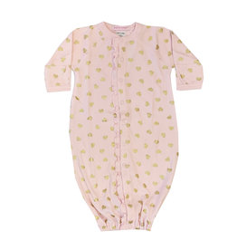 Baby Steps Pink Gown with Gold Hearts NB