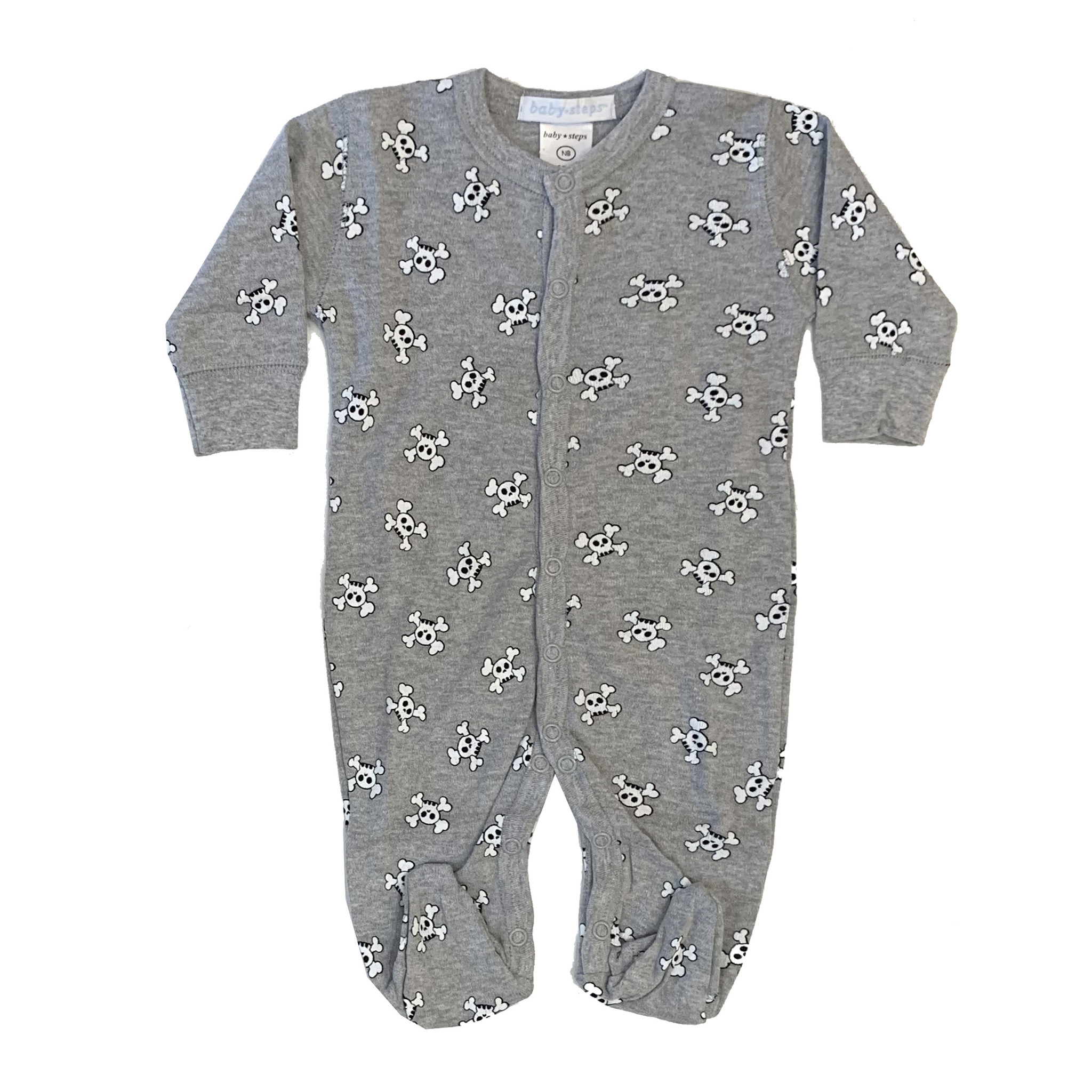 Baby Steps Grey Skulls Footie