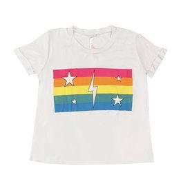 Malibu Sugar White Rainbow Stripes & Bolt Crop Tee