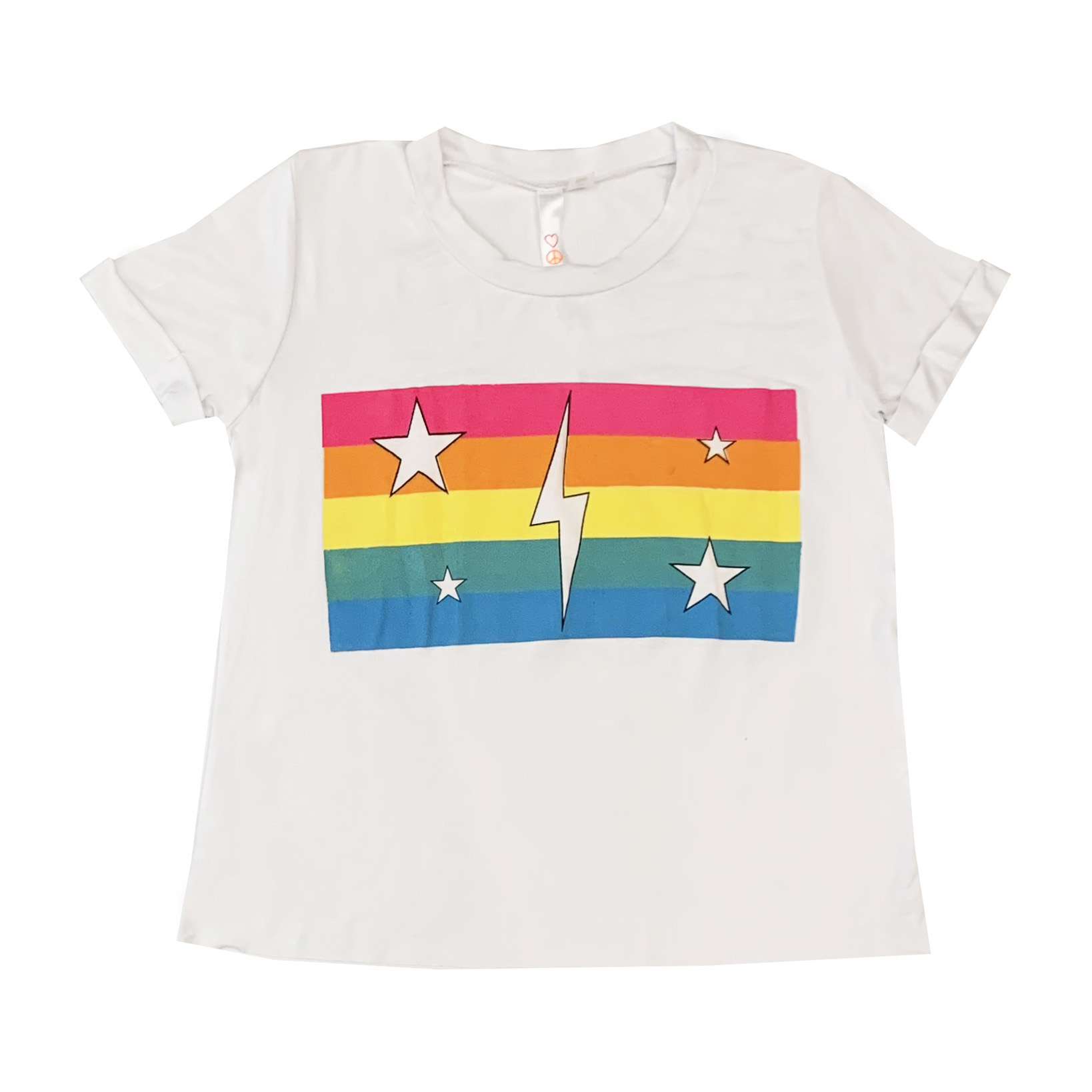 Malibu Sugar White Rainbow Stripes & Bolt Crop Tee