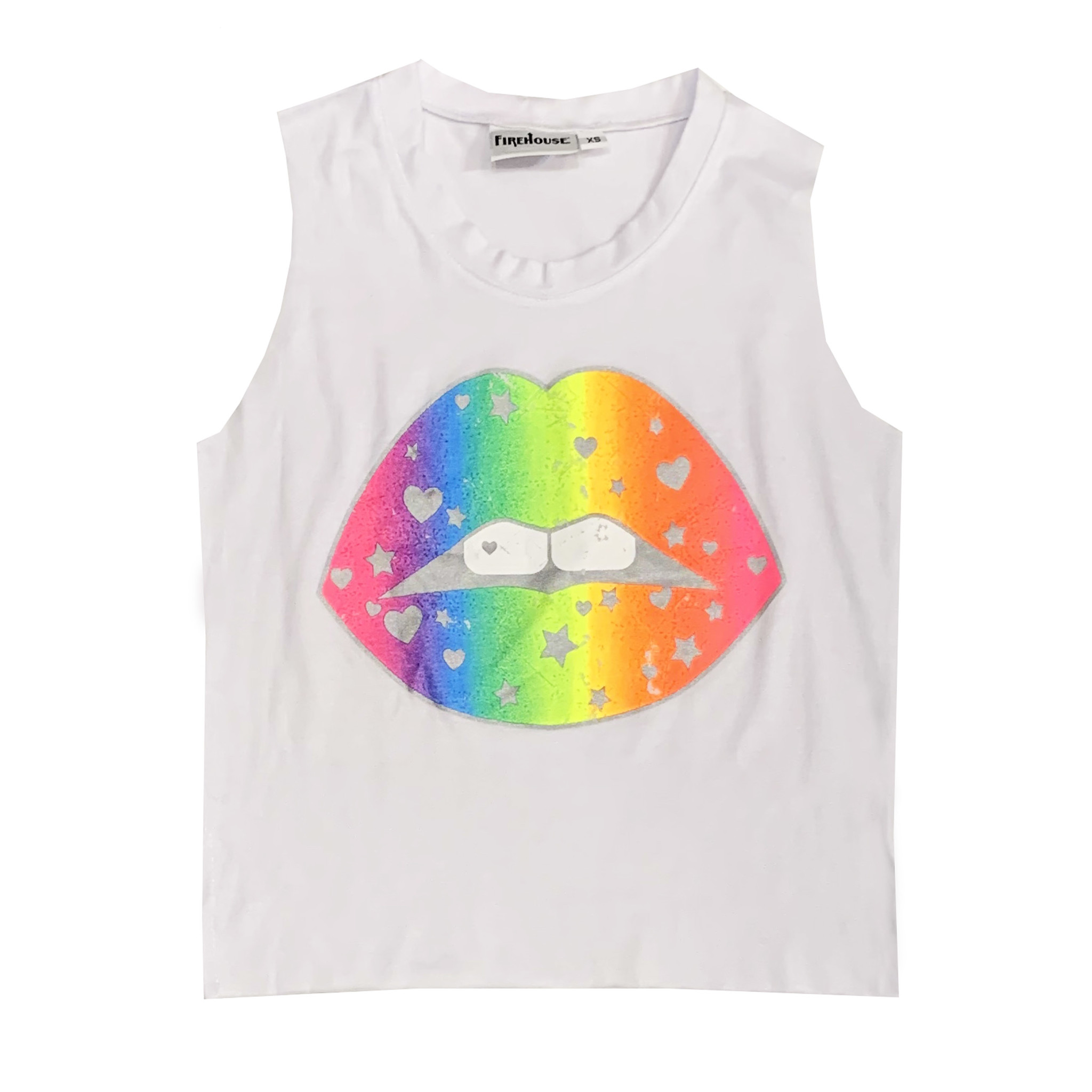 Firehouse White Neon Lips Muscle Tank